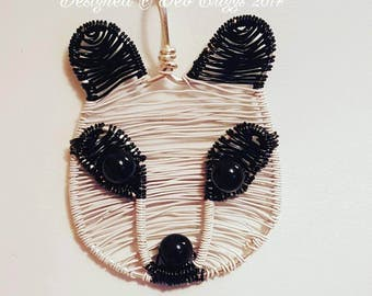 Wirework Panda Pendant, Animal, gift for her, gift for mum, gift idea, novelty, safari, Keepsake jewellery, Gemstone, birthday, present