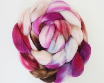 "Hand Dyed Eco Sock Blend Roving--4 oz 80/20 Organic Merino/Nylon Hand Dyed Combed Top, ""Shimjang"""