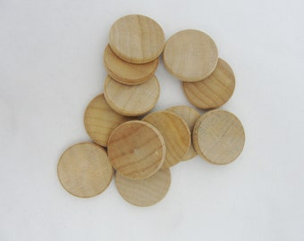"12 wooden Circles, wooden disc, .75 inch wood disk  .75""  (3/4"") wood disk 1/8"" thick unfinished DIY"