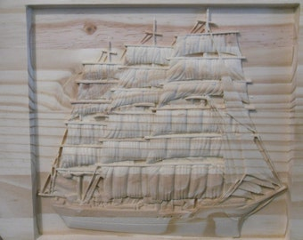 WOOD CARVING--CLIPPERSHIP--- carved into 17' x 1 circle