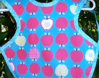 Organic Baby Bib -  Apples and Trees - Reversible - Long - Apron Bib - Ready to Ship