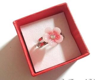 Red flower child Adjustable ring