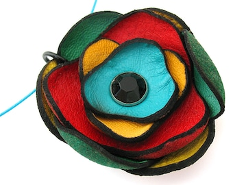Colorful Leather Flower Wire Necklace Eco Friendly Handmade in Seattle by Greenbelts OOAK