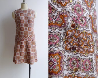 Vintage 70's 'Turkish Tile' Mod Dropwaist Dress XS or S