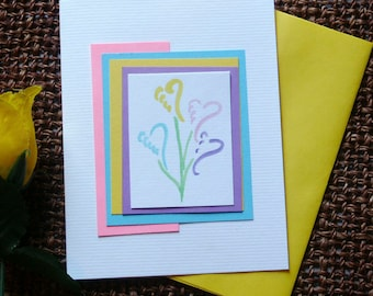 Personalized Note Card Set  with  Hand Painted Heart Flower Design