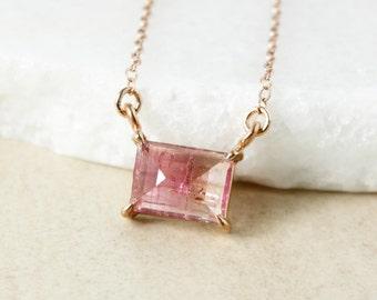 Bubblegum Pink Tourmaline Necklace - Sideway Necklace - Choose Your Tourmaline