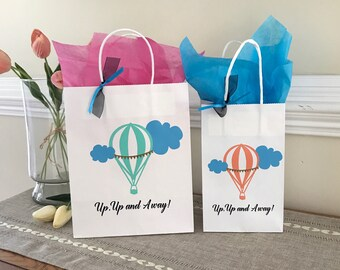 Up Up And Away Party Bag, Hot Air Balloon Party, Custom Gift Bag, Party Favor, Small & Medium Gift Bag, Sets of 4,8,10,12,15, and 25
