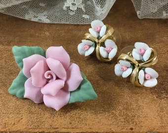 Romantic Bisque Roses Demi Parure Unsigned Pierced Earrings Brooch Pink White Roses Gold Tone Setting Green Leaves Ceramic Breakable