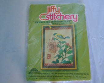 Jiffy Stitchery Song Bird and Chrysanthemums - Sunset Designs
