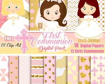 Girl Gold Rose First Communion Digital Papers Baptism Free Clip Art Digital Christening, Holy Cross Baptismal scrapbook papers