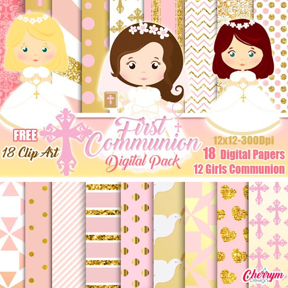 girl gold rose first communion digital papers baptism free clip art rh etsystudio com First Holy Communion Clip Art First Communion Banners