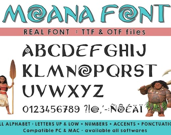 Moana font ttf otf - available on all softwares - compatible PC and mac- instant download
