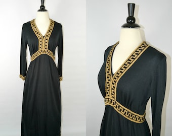 1960s Black and Gold Egyptian Revival Long Sleeve Maxi Dress, Costume Party