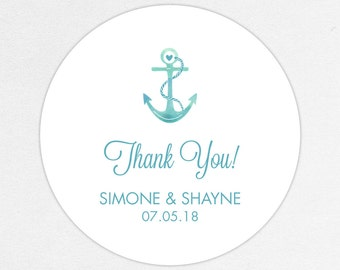 Wedding Favor Labels, Favor Tags, Favor Stickers, Wedding Labels, Printed Labels, Stickers, Nautical, Watercolor, Anchor, Blue, Anchors Away