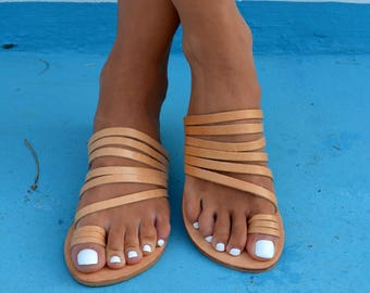 Ancient Grecian sandals, Strappy Leather Sandals, Greek Sandals, Natural Tan Leather sandals ''Stella''