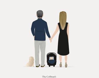 Custom Dog Family Illustration