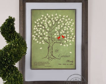 Personalized Family Tree - Wedding Gift, Housewarming Gift, Bridal Shower, Family Tree Wall Art Print for the home 8 x 10