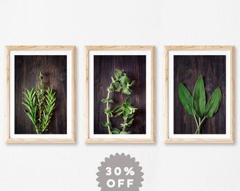 Kitchen Wall Decor Set, Rustic Kitchen Wall Art, Mother Gift, Herb Print Set, Kitchen Art, Set of 3 Prints, Food Photography