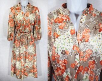 10 Dollar Sale---Vintage 70's R&K ORIGINALS Floral Dress S/M