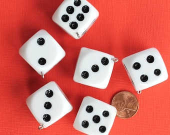 2 Large Dice Charms 3D Resin Top Quality Classic Black and White - K251