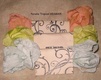 Seam Binding Hand Dyed - Distress Antiqued Vintage Inspired - Crinkled -  Paradis Tropical Paris Market (HDSB005) ECS