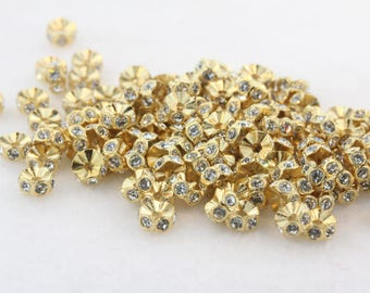 Swarovski Plastic Rondelles (4720) 5mm Gold/Crystal (12 Pieces)