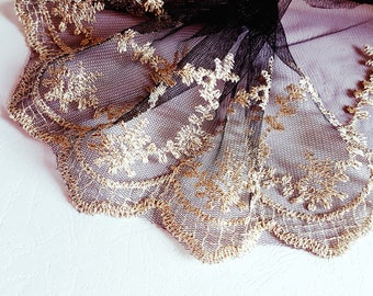 pretty Black Lace and gold stitching semi-heavy 19cm x1m