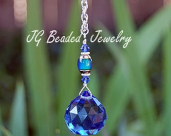 Mood Bead Color Changing Blue Prism Crystal, Rearview Car Charm, Light Pull, Ceiling Fan Pull Chain, Window Crystal Suncatcher