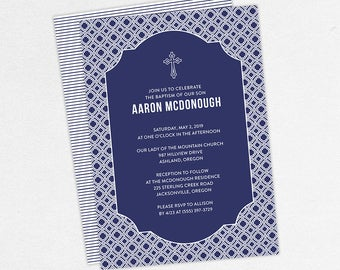 Boy Baptism Invitation, Christening Invitation, Printable Baptism Invitation, Invitation PDF, DIY Invitation, Classic, Modern, Navy, Aaron