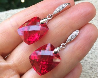 Sale Luxury Ruby Red earrings.  Red Topaz Pave dangles Sterling silver.   Precious stone.  Evening Statement jewelry