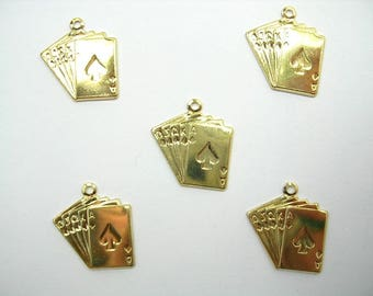 Set LOT 5 METALS CHARMS Gold: cards 15 mm