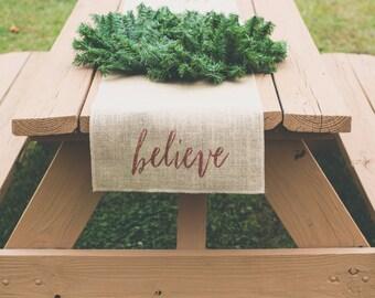 Burlap Table Runner, Table Runner, Holiday Table Runner, Believe, Christmas Table Runner * Free Shipping*
