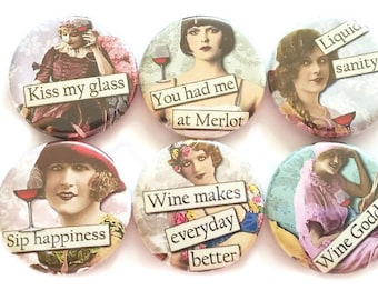 Wine Magnets Funny Wine Magnets Girlfriend Gift Sassy Wine Refrigerator Magnets Best Friend Wine Gift Wine Magnets Party Favors, 6/Set