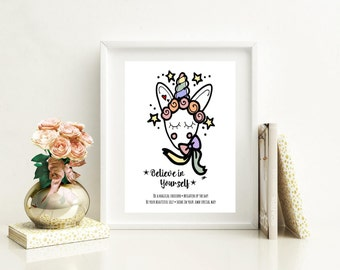 Magical unicorn prints, believe in yourself prints, girls bedroom prints, personalised prints for nursery, new baby gift, Christmas gift