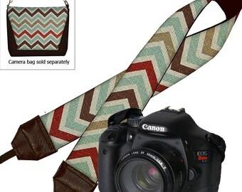 Chevron  Dslr Camera Strap SLR Digital Camera Padded Strap Nikon Canon brown red blue MTO