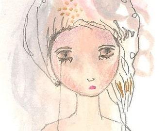 ACEO original drawing sad girl art card atc connected
