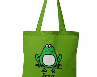 Cute Hop FROG green cotton Tote Bag