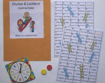 Teacher Made Literacy Activity Center Resource Game Contractions Chutes & Ladders