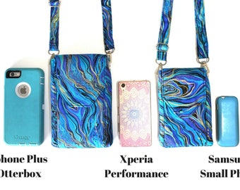 cell phone purse - smartphone purse - cell phone wallet - cell phone pouch - small crossbody bag - crossbody phone bag - blue phone purse