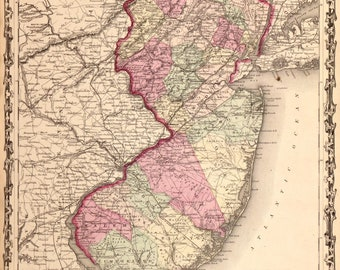 Vintage Rare Johnson's New Jersey Map