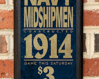 US Navy Midshipmen Army Navy Game Wall Art Sign Plaque Gift Present Home Decor Vintage Style USNA Sailor Naval Academy Football Classic