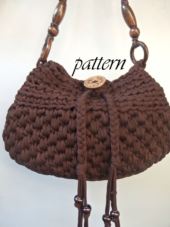 Digital crochet pattern t shirt yarn handbag/ Zpagetti handbag