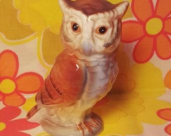 Vintage Ceramic Owl Figure Made In Japan