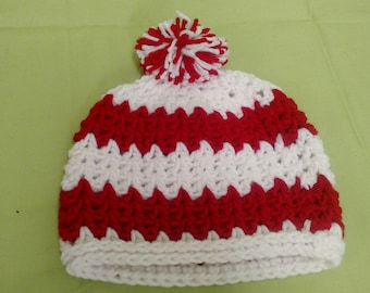 Red and white Chevron hat with pom pom. Handmade, crocheted.