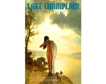 Lake Champlain New York Vermont Quebec Retro Pin Up Travel Poster Bierstadt Bathing Beauty Art Print 340