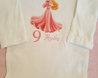 Sleeping Beauty themed monthly onesies, Sleeping Beauty Month By Month Princess themed onesies