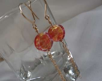 Peach Venetian Glass Bead Earrings(LVE134)
