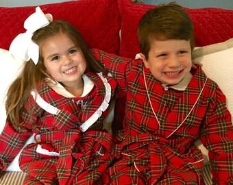 Girl Red Tartan Plaid Flannel Robe