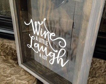 Wine cork holder-wine a little laugh a lot-wedding gift-Wine Lover-newlyweds-Wine Shadow Box-Personalized Wine Cork Box-Mr and Mrs-Christmas