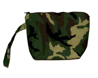 Camo Camouflage Wristlet,  Cosmetic Zippered Little Bag, Purse, Bridal Party Gift, Shipping Included,  Ready To Ship Today AGFT 114